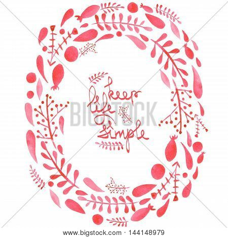 Circle frame, wreath with watercolor red abstract leaves and branches on a white background