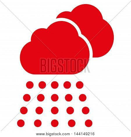 Rain Clouds icon. Vector style is flat iconic symbol, red color, white background.