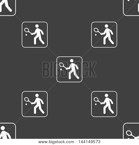 Tennis Player Sign. Seamless Pattern On A Gray Background. Vector