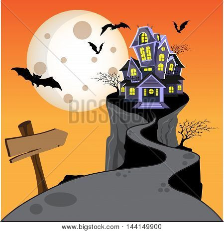 Halloween haunted house castle on hill with moon, bat, and tree. vector illustration