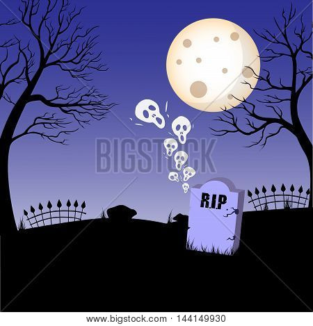 Tomb, tombstone, rest in peace vector icon on halloween theme