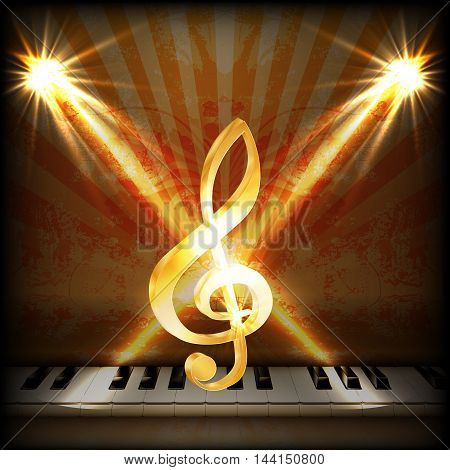 bright musical background with a treble clef and piano keys. You can use any text or image on a black background.