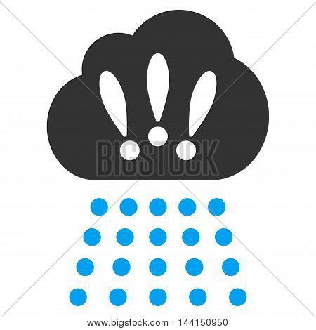 Storm Cloud icon. Vector style is bicolor flat iconic symbol, blue and gray colors, white background.