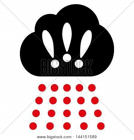 Storm Cloud icon. Vector style is bicolor flat iconic symbol, intensive red and black colors, white background.