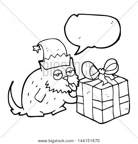 freehand drawn speech bubble cartoon cat with present