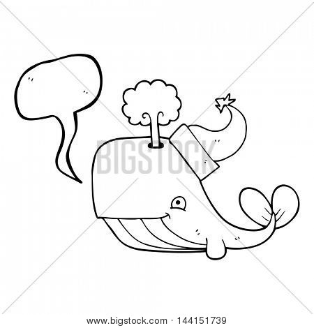 freehand drawn speech bubble cartoon whale wearing christmas hat