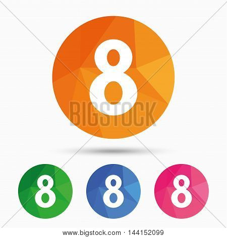 8 March Women's Day sign icon. Eight symbol. Triangular low poly button with flat icon. Vector