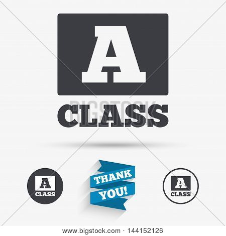 A-class icon. Premium level symbol. Energy efficiency sign. Flat icons. Buttons with icons. Thank you ribbon. Vector