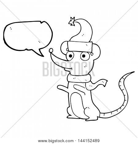 freehand drawn speech bubble cartoon mouse wearing christmas hat