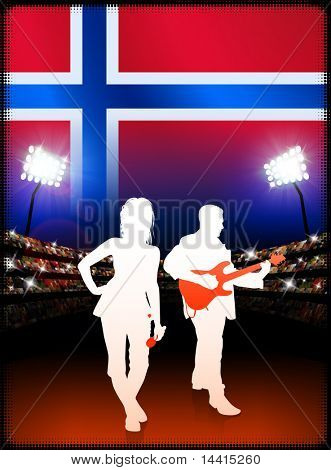 Live Music Band with Norway Flag on Stadium Background Original Illustration