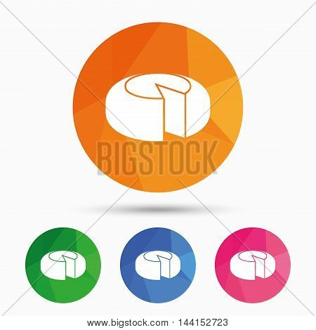 Cheese wheel sign icon. Sliced cheese symbol. Round cheese. Triangular low poly button with flat icon. Vector
