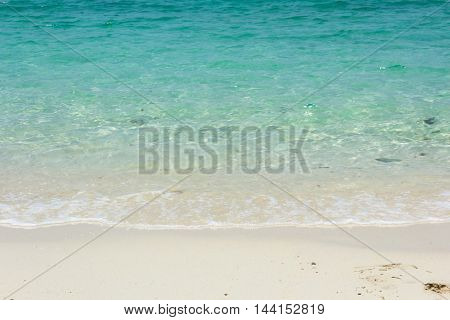 yellow warm sand and summer sea with sky and free space