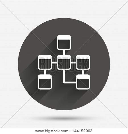 Database sign icon. Relational database schema symbol. Circle flat button with shadow. Vector