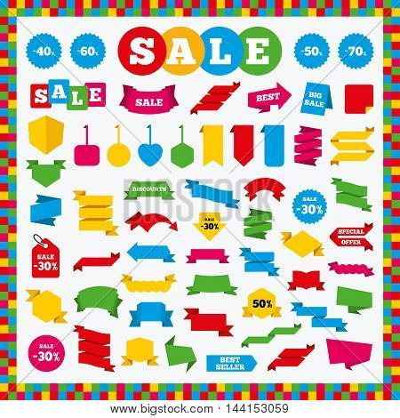 Banners, sale stickers and labels. Discount icons. Special offer signs. 40, 50, 60 and 70 percent off reduction symbols. Price tags. Vector