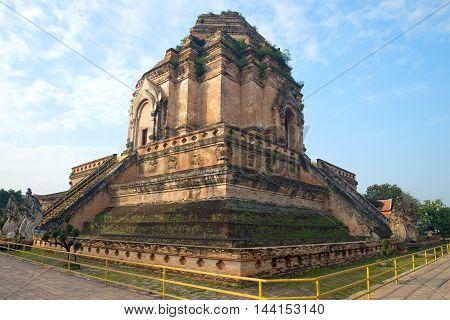 Ancient stupa of Wat Chedi Luang Worawiharn Sunny morning. Chiang Mai Thailand