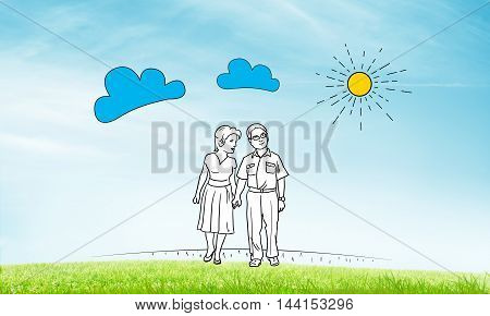Hand drawn happy family in casual clothes walking outdoors