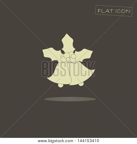 Light Christmas bells, holly icon on black, vector illustration