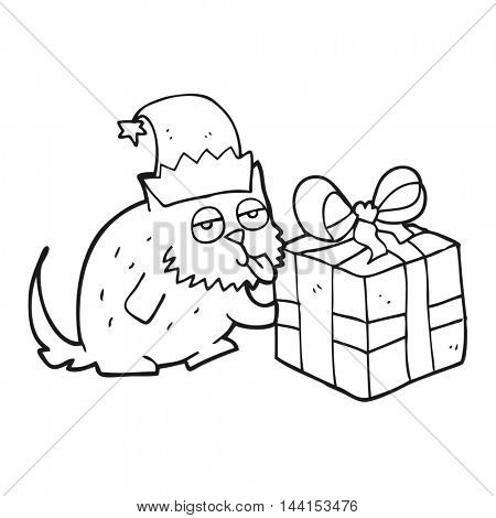 freehand drawn black and white cartoon cat with present