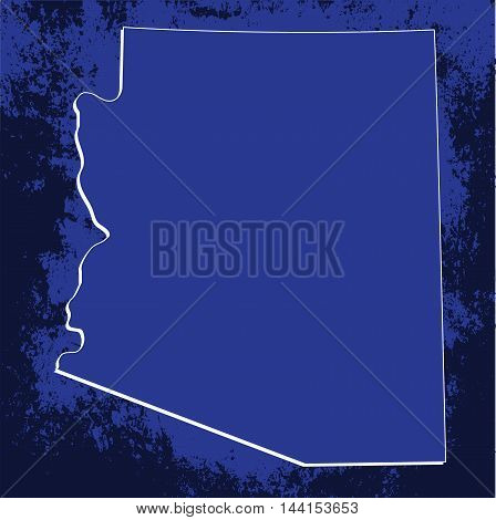 3D Arizona (USA) Blueprint outline map with shadow