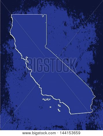 3D California (USA) Grunge Blueprint outline map with shadow