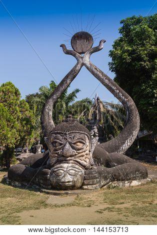 HD: Dolly, Pagoda in Wat-Sawangboon at Saraburi, Thailand,