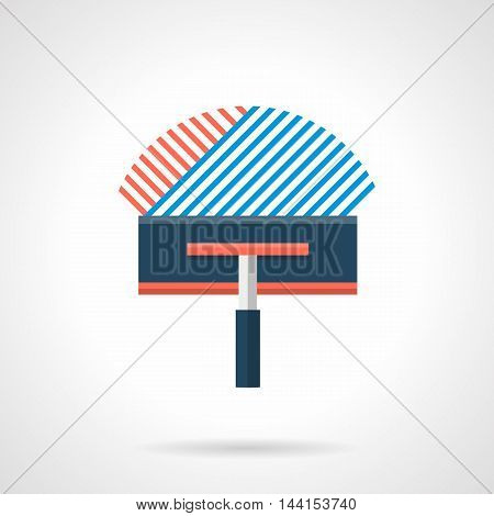 Construction trowel with red and blue solution for underfloor heating system mounting. Works before laying tile. Installation of electrical heated floor. Single flat color design vector icon