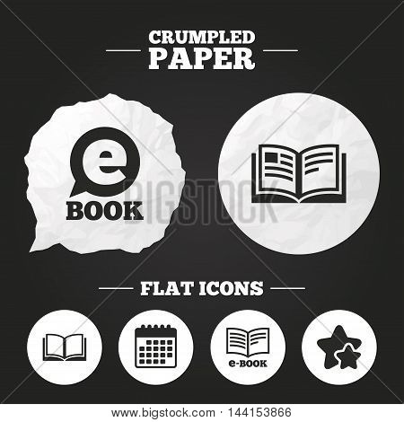 Crumpled paper speech bubble. Electronic book icons. E-Book symbols. Speech bubble sign. Paper button. Vector