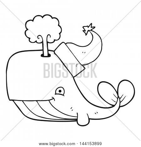freehand drawn black and white cartoon whale wearing christmas hat