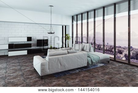3D rendering of fancy living room with entertainment center, chandelier and tall glass windows