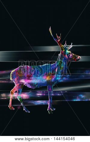 Profile of horned buck in multiple colors standing over black background with motion effect and copy space
