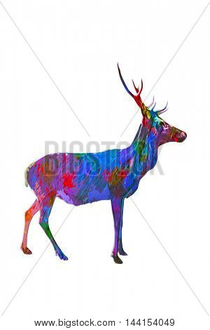 Side view of horned buck in multiple paint colors standing over white background with copy space