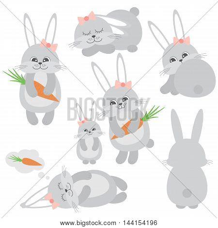Vector cute little grey bunnies with carrots