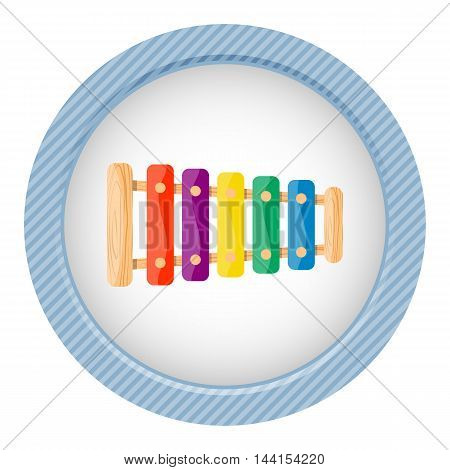 Xylophone colorful icon. Vector illustration in cartoon style
