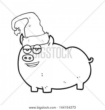 freehand drawn black and white cartoon christmas pig