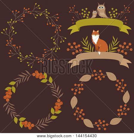 Vector woodland wreath and ribbons set with fox and owls
