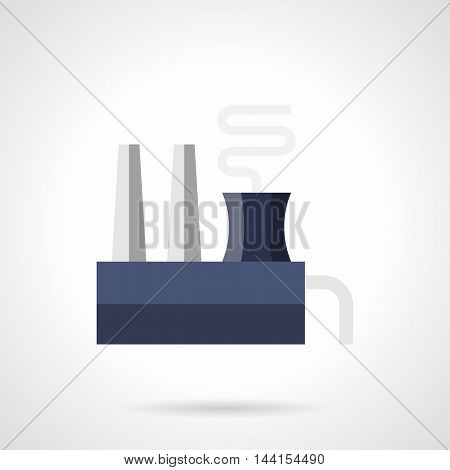 Blue and gray color steel mill or ferroalloy plant with chimneys and smoke. Industrial factory, buildings and other architecture. Environment problems. Flat style vector icon.