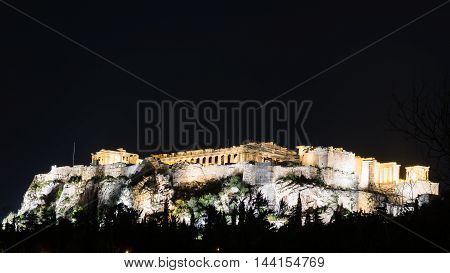 Gold and silver Acropolis of Athens at night Greece