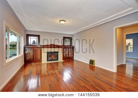 Empty Living Room Interior With Polished Hardwood Floor