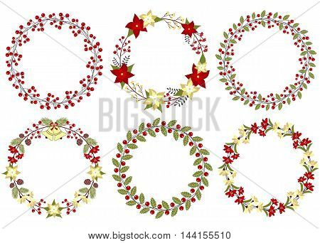 Set of 6 vector Christmas wreath with leaves, berries and poinsettia