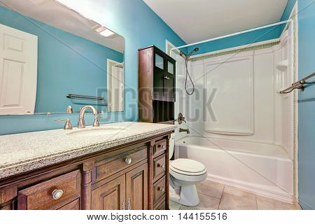 Interior Design Of Blue Bathroom In Apartment