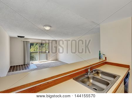 Bar Style Stand With Steel Double Sink Overlooking Empty Room