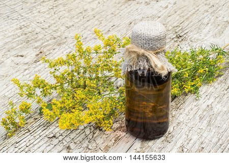 Medicinal plant Galium verum (ladys bedstraw yellow bedstraw) and pharmaceutical bottle on old wooden table. Used in herbal medicine good honey plant. Previously it used in the manufacture of cheese