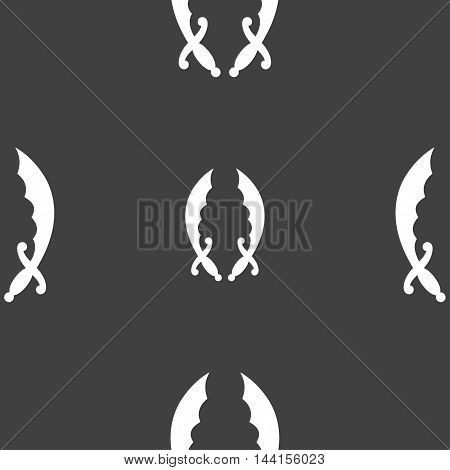 Saber Sign. Seamless Pattern On A Gray Background. Vector