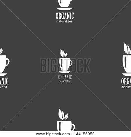 Organic Natural Tea Sign. Seamless Pattern On A Gray Background. Vector
