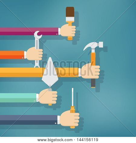 Hands holding housework and repair tools. Flat vector illustration.