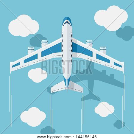 Picture of a civilian plane with clouds, flat style illustration.