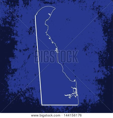3D Delaware (USA) Grunge Blueprint outline map with shadow