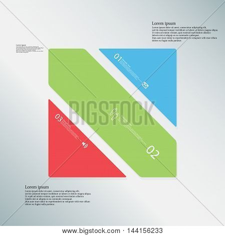 Square Illustration Template Consists Of Three Color Parts On Light-blue Background