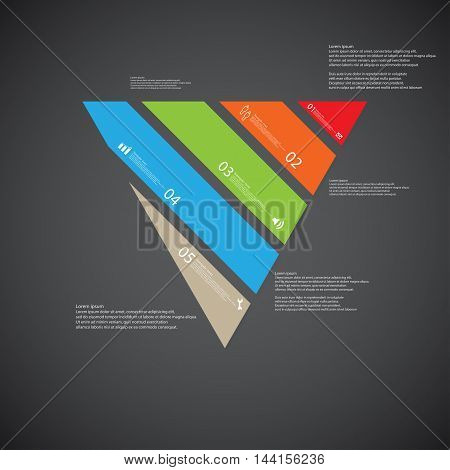 Triangle Illustration Template Consists Of Five Color Parts On Dark Background