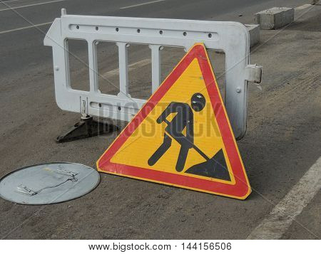 traffic sign repair work on the road